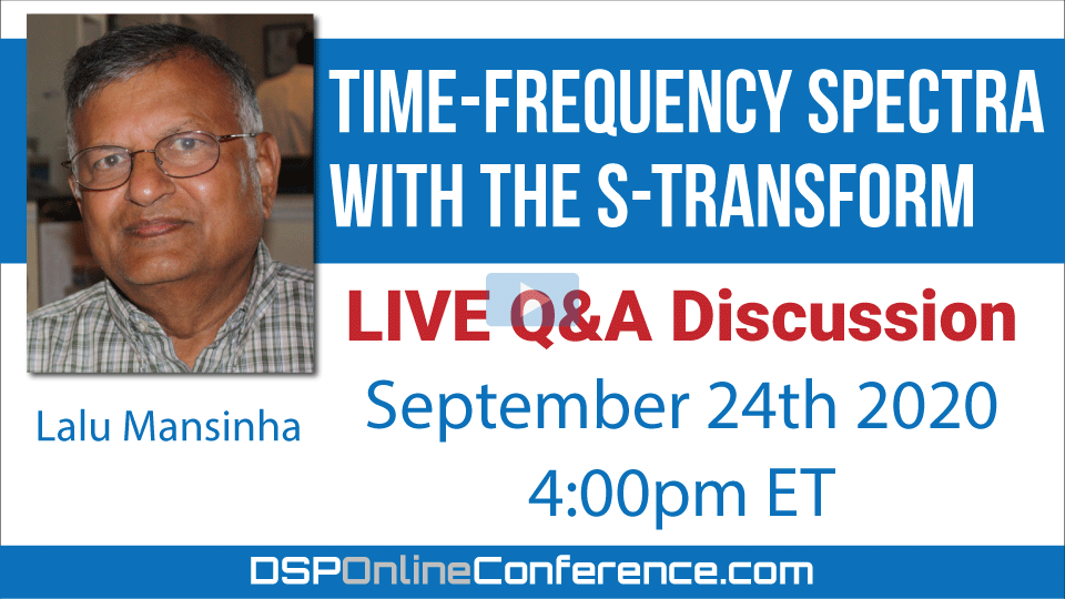 Live Q&A Discussion - Time-Frequency Spectra with the S-transform